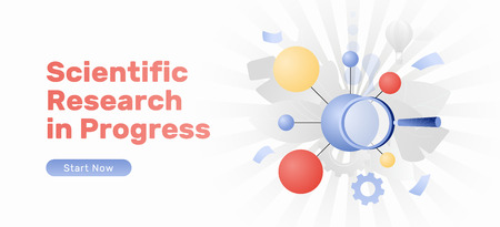 Scientific research in progress web banner with a big molecule and magnifying glass. Modern flat design concept with gradients.