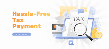 Hassle-free Tax payment vector banner template. Tax form sticking out of open laptop under magnifier. Modern stylish flat design with gradients.