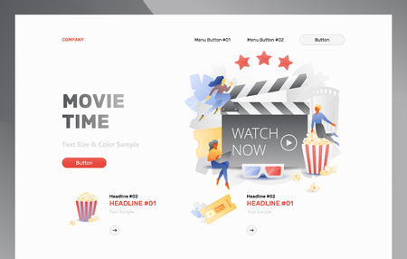 Movie Time web header template with tiny cinema viewers around board clapper. Movie entertainment concept. Vector metaphor in modern flat gradient style.