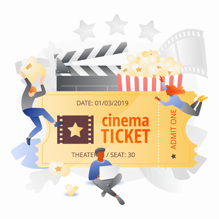 Small cinema viewers around movie ticket. Movie entertainment concept. Vector metaphor in modern flat gradient style. Ilustrace