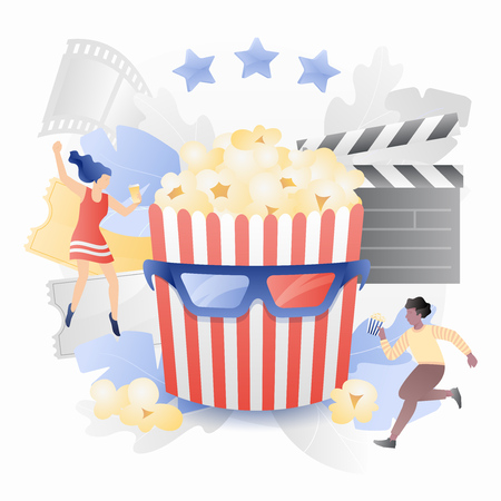 Tiny cinema viewers around striped bucket in 3D movie glasses. Cinema entertainment concept. Vector metaphor in modern flat gradient style. Illusztráció