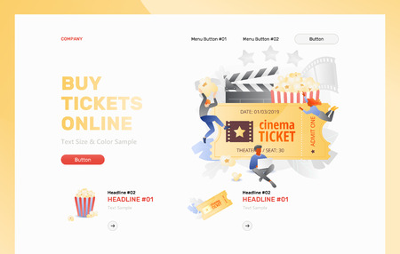 Buy tickets online web header template with tiny cinema viewers around movie ticket. Vector metaphor in modern flat gradient style.