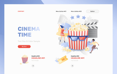 Cinema time web header template with tiny cinema viewers around striped bucket. Vector metaphor in modern flat gradient style.