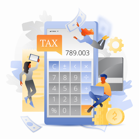 ncome Tax calculation vector concept with calculator app on cellphone screen surrounded by tiny people characters. Modern stylish flat design with gradients. Illustration