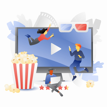 Small people characters watching movies on different devices. Online video streaming concept. Vector metaphor in modern flat gradient style.