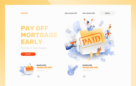 Pay off mortgage early vector banner header with multicultural family around 3D white house and PAID stamp. 3D with gradients style. Vector Illustratie