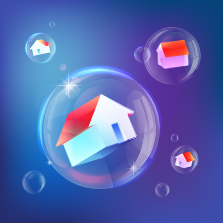 Houses in soap bubbles vecor metaphor of housing market bubble, real estate market bubble, booming, industry and subprime mortgage. Red roofed houses on blue background. Eps 10.