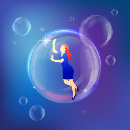 Woman inside soap bubble vector metaphor. Struggling and personal crisis concept.