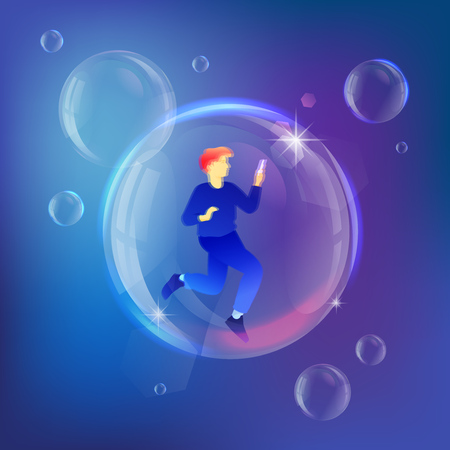 Man with smartphone inside soap bubble. Vector metaphor of device addiction and personal crisis.  イラスト・ベクター素材