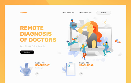 Remote diagnosis of doctors vector header or frontpage template. Tiny physicians around woman with headache on monitor screen. Illustration
