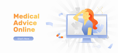 Medical advice online vector banner template with a woman sticking out of monitor screen. Telemedicine and remote diagnosis concept. Banco de Imagens - 124100662