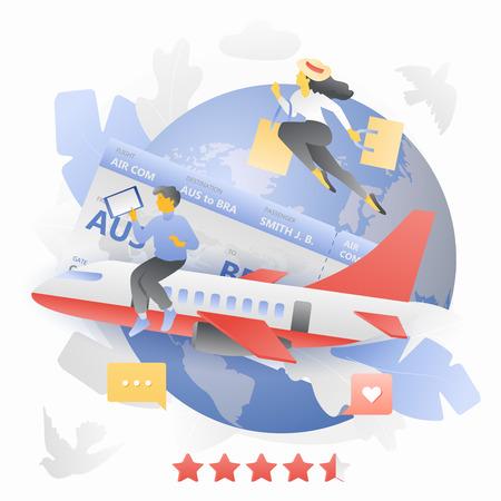 Airplane Tickets Booking Metaphor Ilustração Vetorial