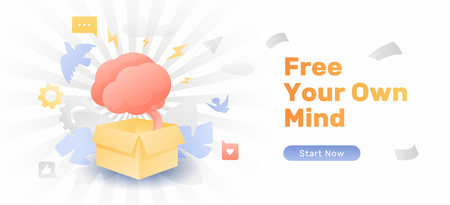 Free your own mind web banner template. Vector concept of thinking beyond the box or unconventionally.