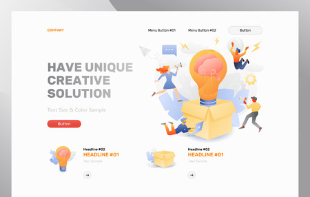 Have unique creative solution front page vector template. Business metaphor of developing creative ideas for thinking outside the box.