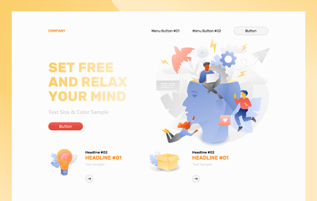 Set free and relax your mind front page vector template. Business metaphor of relaxing the mind, creative thinking and brainstorming. Иллюстрация