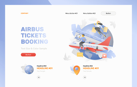 Airbus tickets booking landing page vector template. Tiny people booking plane tickets and going to vacation. Vector modern layout with gradients. Фото со стока - 123928544