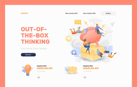 Out-of-the-box thinking front page vector template. Business metaphor of thinking outside the box or divergent thinking. Illustration