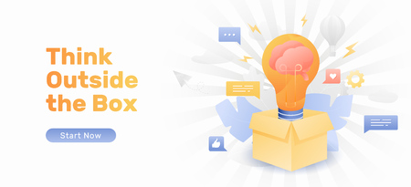 Think outside the box web banner template. Vector concept of developing creative ideas for thinking outside the box. Illustration