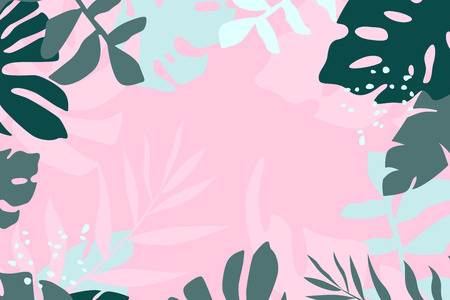 Tropical leaves vector horizontal background. Banner template with copy space in modern flat doutone color.