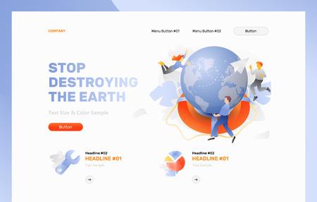 Arrêtez de détruire le modèle d'en-tête Web Earth. Notion de vecteur de sauver le monde. Vecteurs