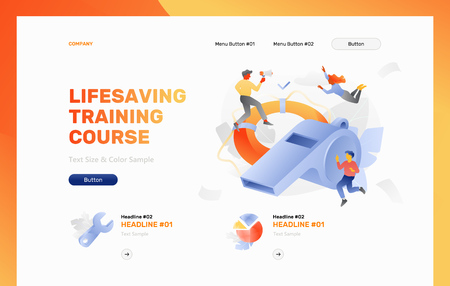 Lifesaving training course web header template. Vector concept of safety and rescue.