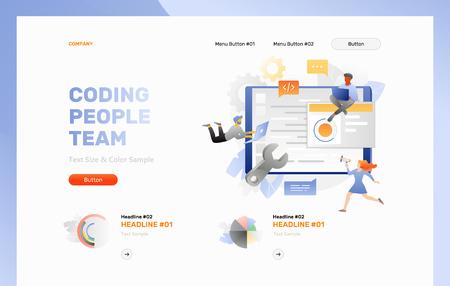 Coding people team banner template. Vector concept of software development. Vetores