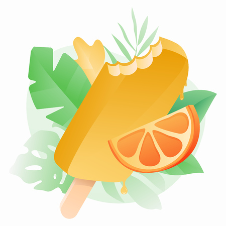 Melting bitten ice cream and orange slice vector illustration. Summer design concept with tropical leaves background. Square on white.