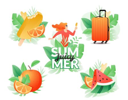 Summer illustration set isolated on white background. Bitten popsicle, orange suitcase, watermelon, orange fruit and happy woman framed by tropical leaves.