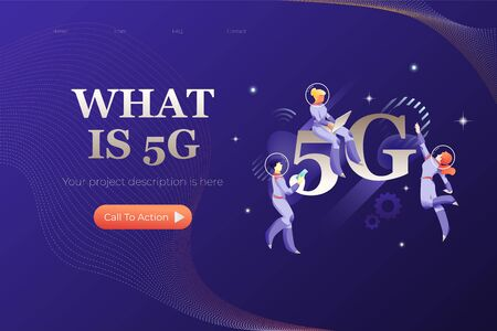 5G Network. Vector header or hero banner template with words WHAT IS 5G and illustrative metaphor with modern people characters in space suits. 版權商用圖片 - 130061897
