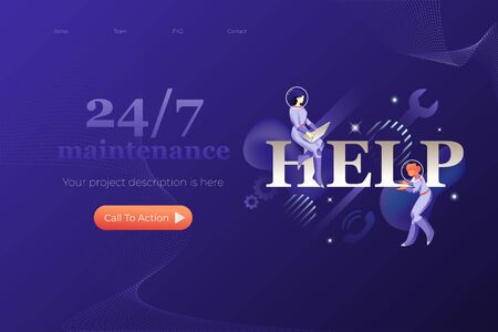 Help, maintenance and customer support. Vector header or hero banner template with words 247 MAINTENANCE and illustrative metaphor with modern people characters in space suits.