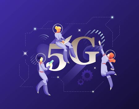 5G network illustration. Vector illustrative metaphor with word 5G and modern people characters in space suits.