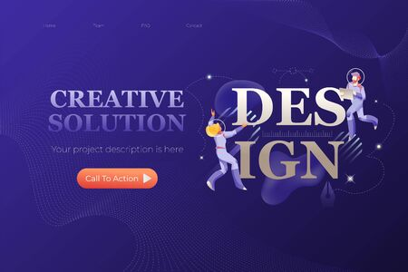 Design. Vector header or hero banner template with words CREATIVE SOLUTION and illustrative metaphor with modern people characters in space suits. 写真素材 - 130061905