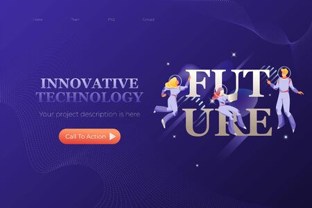 Future. Vector header or hero banner template with words INNOVATIVE SOLUTION and illustrative metaphor with modern people characters in space suits.  Иллюстрация