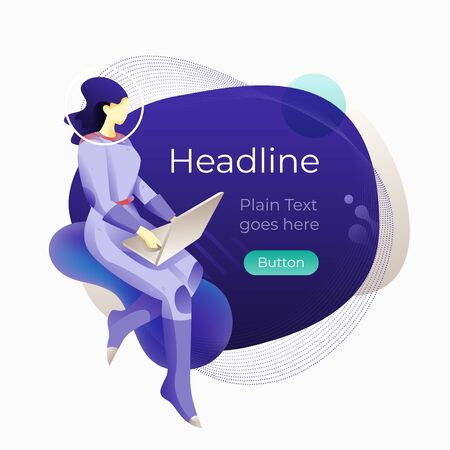 Woman in a spacesuit using a laptop over a modern abstract navy blue background. Vector template for web banners, media posts, advertises, marketing materials. Stockfoto - 130061924