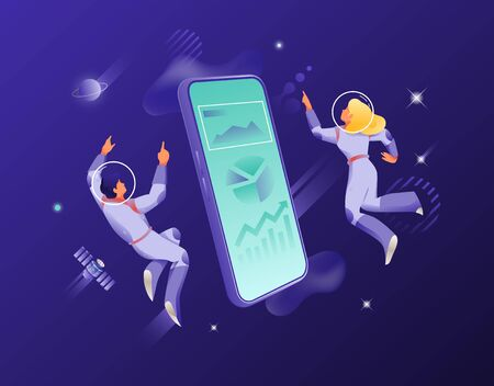 Man and woman in spacesuits around big isometric smartphone. Vector metaphor of modern connection and communication through cellphones. Иллюстрация