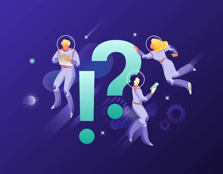 Astronauts with exclamation and question marks. Vector metaphor of FAQ, query, finding solution. Business univerce theme. Ilustração