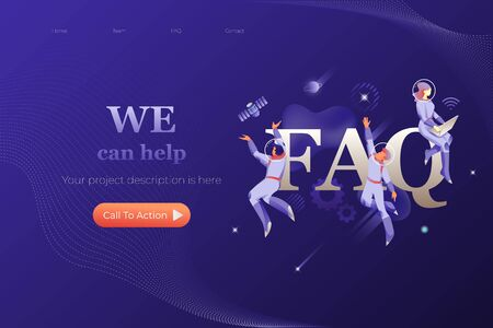 FAQ web page header template. Vector design of website page with word FAQ surrounded by developers in spacesuits. Futuristic and cosmic concept.