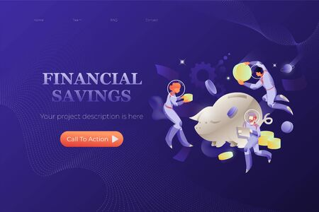 Cosmic coin box banner template. Saving or accumulating money vector concept. Astronauts in spacesuits with piggy bank and coins.  イラスト・ベクター素材