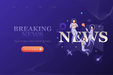 Breaking news web page design template. Astronauts with gadgets around word NEWS. Cosmic design vector illustration concept for website app landing web page development.