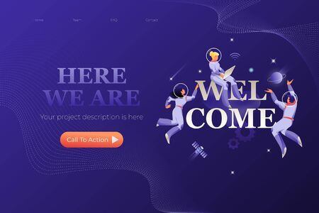 WELCOME web page design template. Astronauts in spacesuits around word WELCOME. Cosmic design vector illustration concept for website app landing web page development. 写真素材 - 130061931
