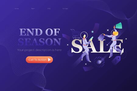 End of Season web page design template with word SALE two astronauts around. Vector for promotional campaigns on navy blue background. Illusztráció