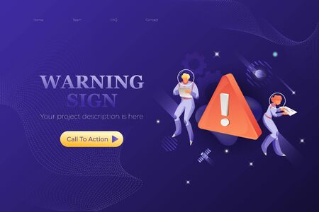 Red warning sign web page design template with two astronauts. Vector for web design on navy blue background.