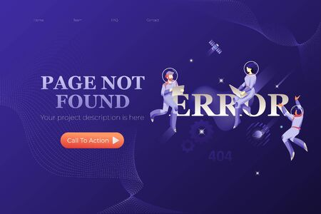Page Not Found web page design template with word ERROR and three astronauts around. Vector for web design on navy blue background.