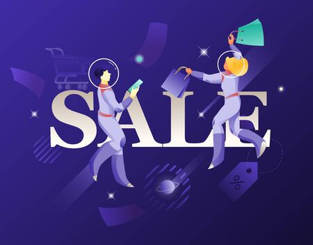 Mobile shopping and astronauts in spacesuits vector illustration. Cosmic design vector illustration concept for website app landing web page development.
