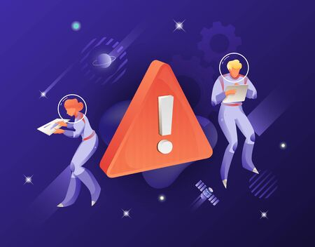 Warning Sign and two astronauts vector metaphor. Illustration for web pages, apps, mobile design. Error illustration with astronauts on navy blue background. Çizim