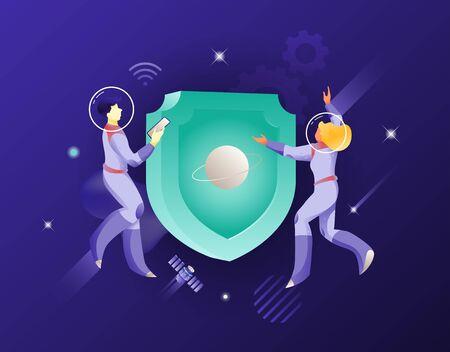 Schildsymbol und zwei Astronauten-Vektorillustration. Sicherheits- und Sicherheitskonzept. Geschäftsuniversum-Metapher. Vektorgrafik