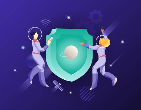 Shield symbol and two astronauts vector illustration. Security and safety concept. Business universe metaphor. Ilustrace