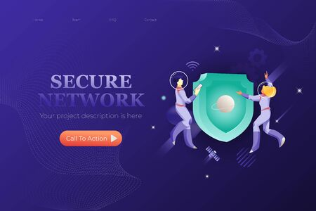 Secure network web page template. Vector design of  security and safety. Business universe metaphor.