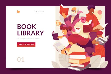 Book library web page design template. Vector illustration concept for web and mobile app development. 写真素材 - 130061989