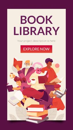 Book Library vertical banner template with family reading books. Modern vector illustration concept for family education, online teaching, learning Foto de archivo - 130061994